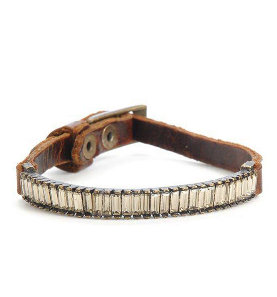 Swarovski baguette leather bracelet for Rebel designs jewelry sale