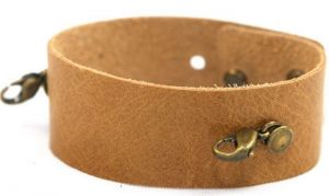 Thin leather bracelet in Sand sold separately